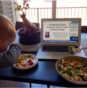 A snapshot of lunchtime for this mompreneur... lunchin' with a toddler and attending a webinar at the same time!