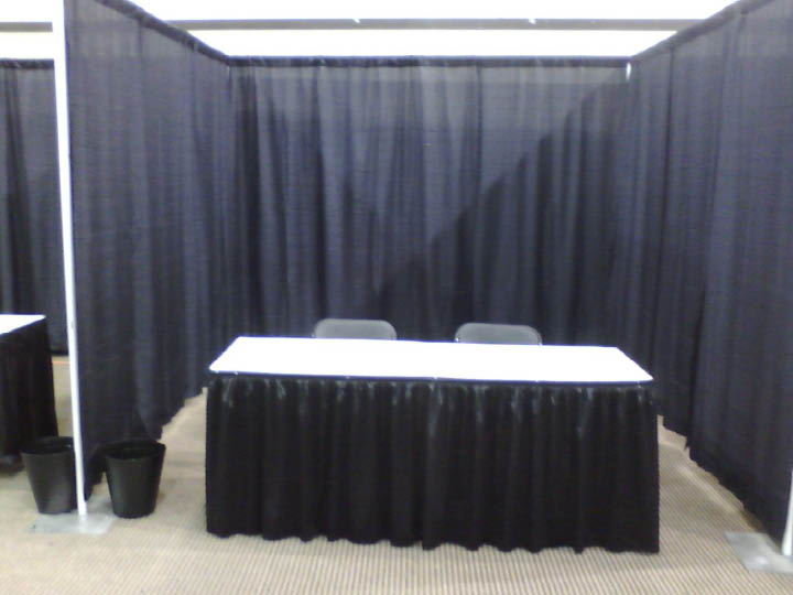 black drape booth w table
